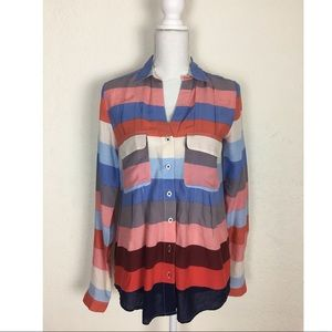 Maeve Color Block Long sleeve Fowy Shirt size 6